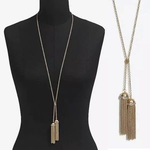 J. Crew Factory Double Tassel Crystal Necklace